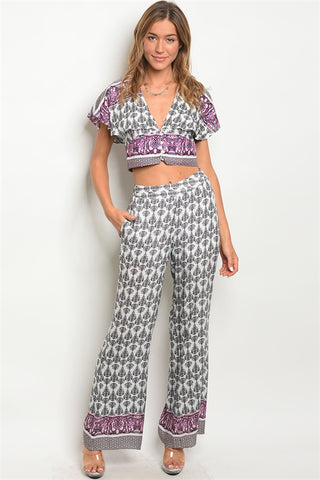 Black and White Crop Top and Palazzo Pants Set