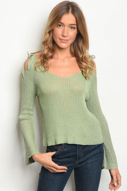 Sage Green Cold  Shoulder Knit Sweater Top