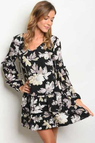 Black Floral Long Sleeve Tunic Dress