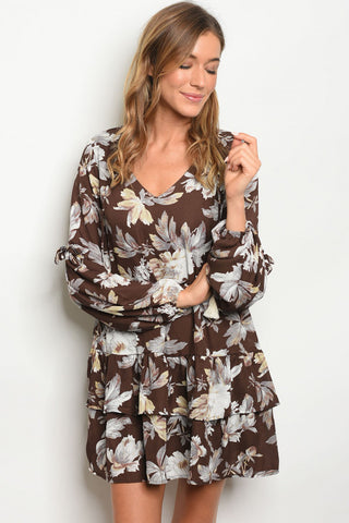 Cocoa Brown Floral Long Sleeve Tunic Dress