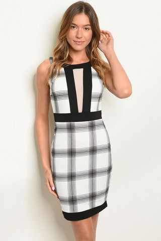 Black and White Plaid Bodycon Dress