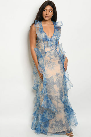 Blue Floral Organza Maxi Dress Gown