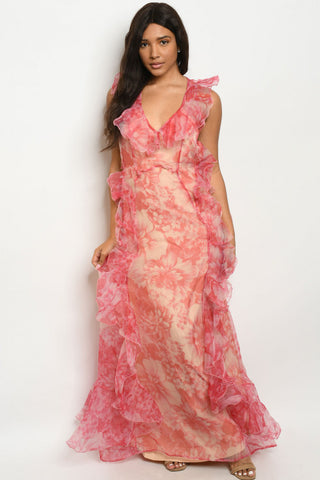 Red Floral Organza Maxi Dress Gown