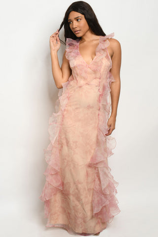 Pink Floral Organza Maxi Dress Gown