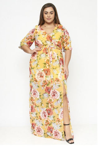 Yellow Floral Chiffon Plus Size Maxi Dress