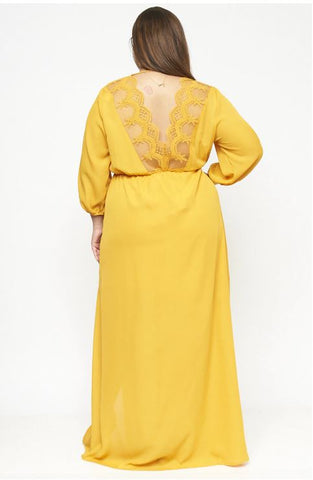 Mustard Yellow Chiffon Plus Size Maxi Dress