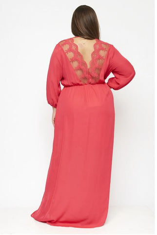 Coral Pink Chiffon Plus Size Maxi Dress