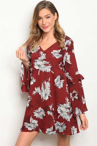 Wine Red Floral Bell Sleeve Tunic Dress