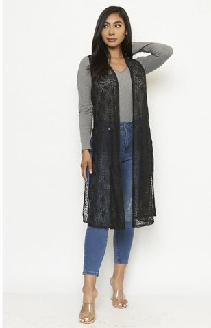 Black Lace Open Front Cardigan Vest