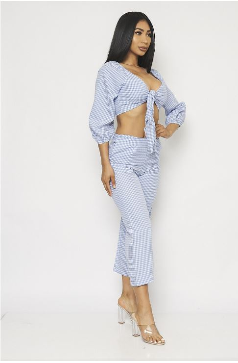 Blue Gingham Crop Top and Pants Set