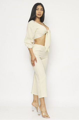 Beige Gingham Crop Top and Pants Set