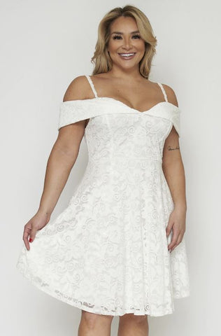White Lace Overlay Plus Size Cocktail Dress