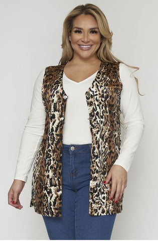Leopard Animal Print Cardigan Vest