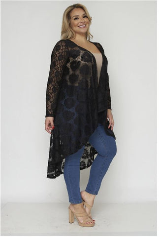 Black Lace Plus Size Duster Cardigan