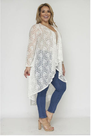Ivory White Lace Plus Size Duster Cardigan