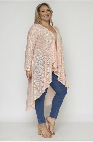 Peach Lace Plus Size Duster Cardigan