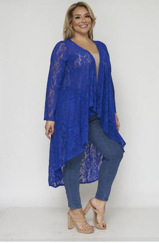 Royal Blue Lace Plus Size Duster Cardigan