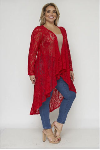 Red Lace Plus Size Duster Cardigan