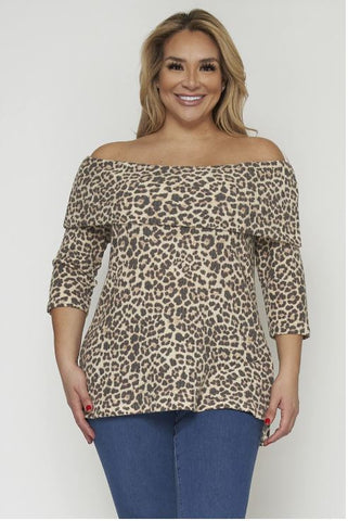 Animal Print Cold Shoulder Plus Size Top