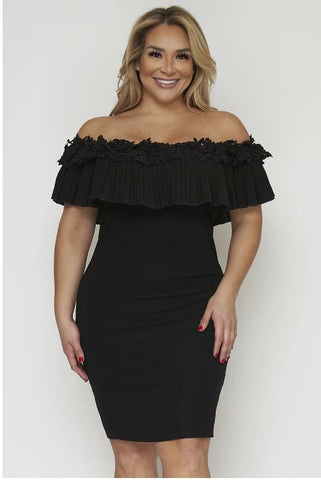 Black Cold Shoulder Plus Size Bodycon Dress
