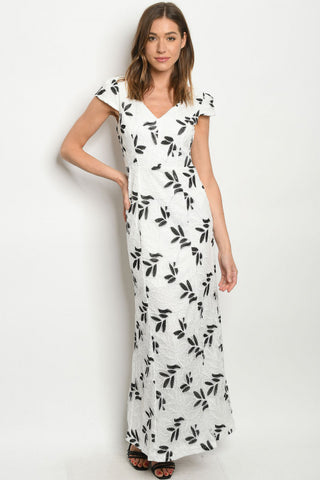 Black and White Lace Overlay Maxi Dress