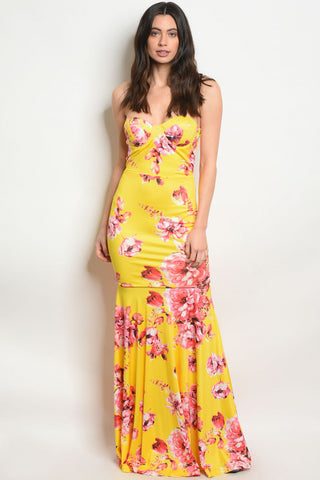 Yellow Floral Bodycon Maxi Dress
