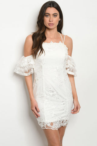 Ivory White Lace Overlay Cold Shoulder Dress