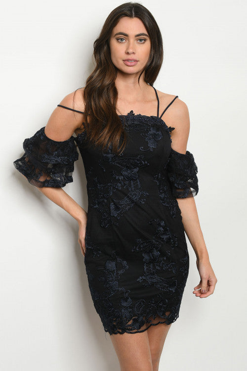 Black and Navy Lace Overlay Cold Shoulder Dress