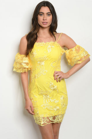 Yellow Lace Overlay Cold Shoulder Dress