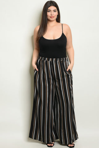 Black Stripe Wide Leg Plus Size Palazzo Pants