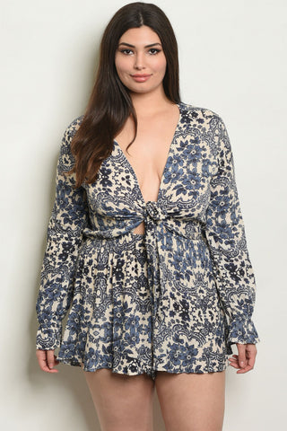 Indigo Blue and Ivory Floral Plus Size Romper
