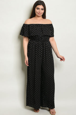 Black Ruffled Cold Shoulder Plus Size Jumpsuit