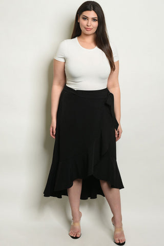 Ruffled Black High Low Plus Size Skirt