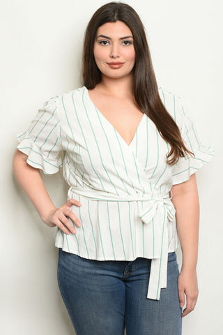 Ivory and Jade Stripe Plus Size Wrap Top