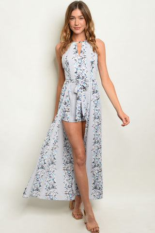 Blue and White Floral Romper Maxi Dress