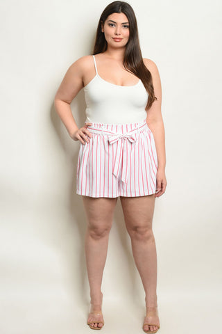 Pink and White Stripe Plus Size Shorts
