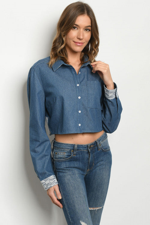 Blue Denim Lace Accent Crop Top