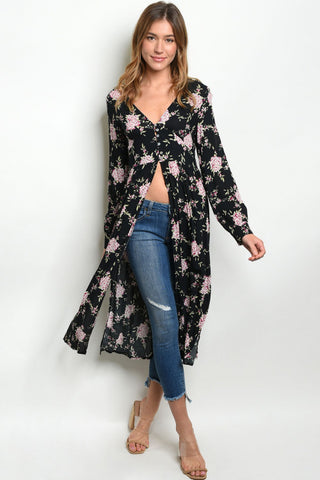 Misses Black Floral Duster Top