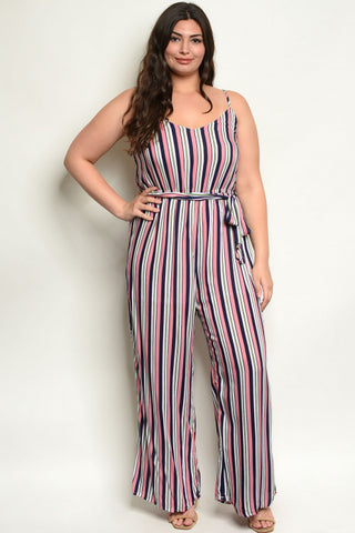 Pink Stripe Plus Size Jumpsuit