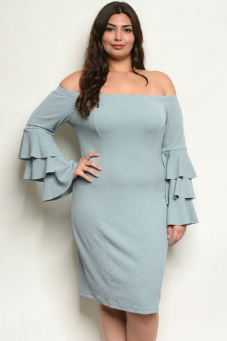 Sage Green Plus Size Bell Sleeve Bodycon Dress