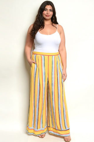 Yellow Stripe Wide Leg Plus Size Palazzo Pants