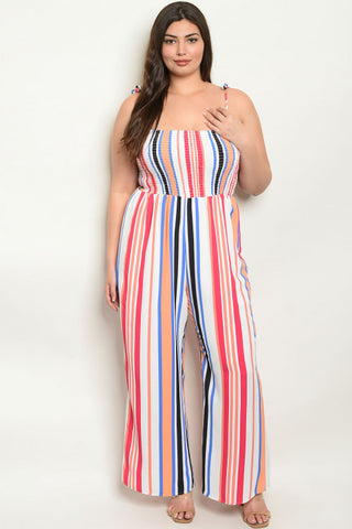 Fuschia Pink Striped Plus Size Jumpsuit