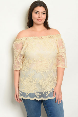 Beige Lace Overlay Plus Size Top
