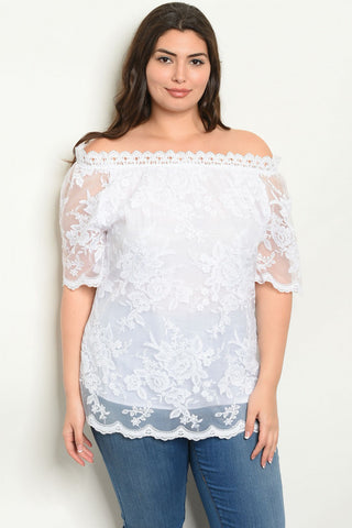 White Lace Overlay Plus Size Top