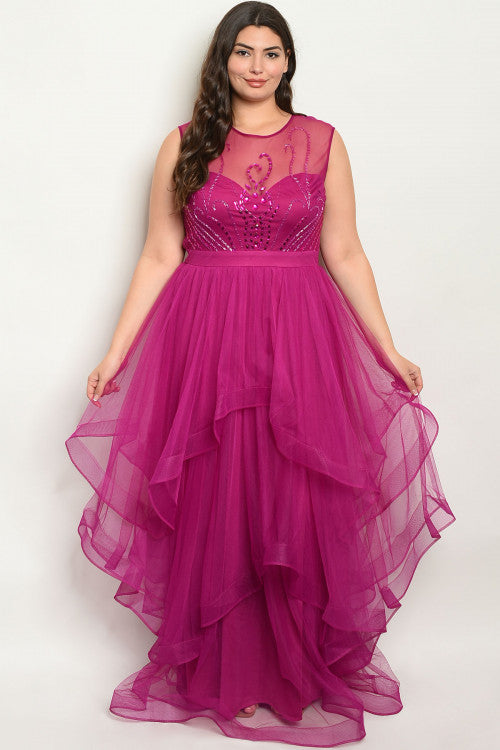 magenta pink plus size gown
