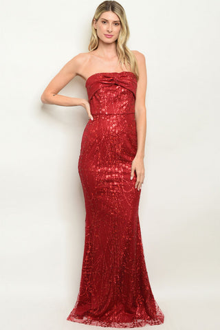 Burgundy Shimmer Evening Gown