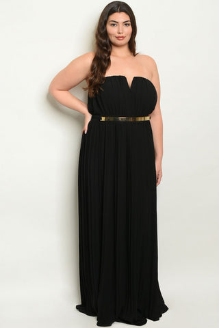 Black Strapless Plus Size Belted Gown