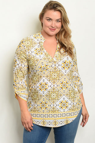 Ivory and Yellow Plus Size Tunic Blouse