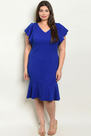 Royal Blue Plus Size Ruffled Dress