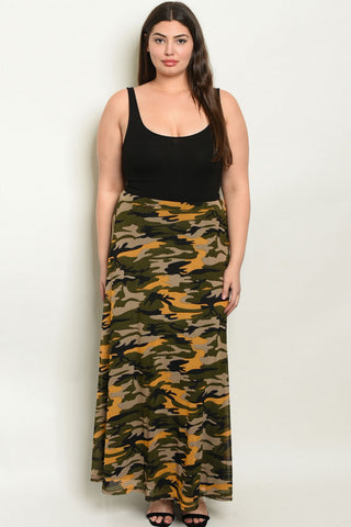 Yellow Camouflage Plus Size Maxi Skirt